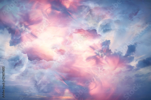 Poster Rose clair / pale abstract background clouds on the sky with sun / sunset landscape background, watercolor light soft background