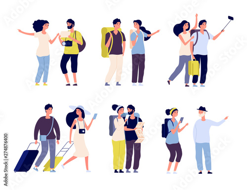 Fototapeta Tourist characters. Young couple family, tourists travelling with backpacks and bags, suitcases. Summer vacation people isolated vector. Illustration of summer tourist character, woman and man obraz
