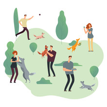 People And Pets. Volunteers With Homeless Dogs Vector Illustration. Park With Person Walk Pets