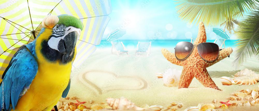 Fototapety, obrazy: Papagai im Urlaub am Strand