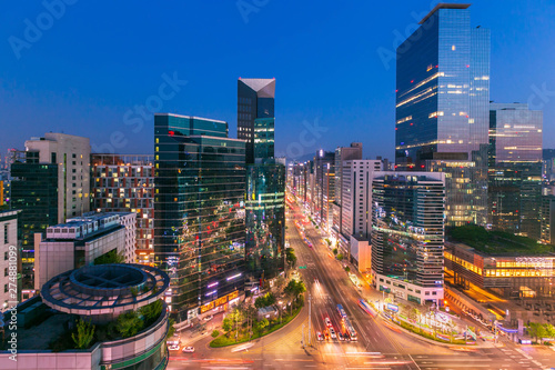 Fototapety, obrazy: Seoul city Skyling and Skyscraper and Traffic at niaht intersection in Gangnam, South Korea.