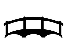 Bridge Over The River, Black On A White Background, Vector