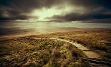 A Stone Path Leading To The Summit Of Ingleborough, Part Of The Three Peaks In The Yorkshire Dales.