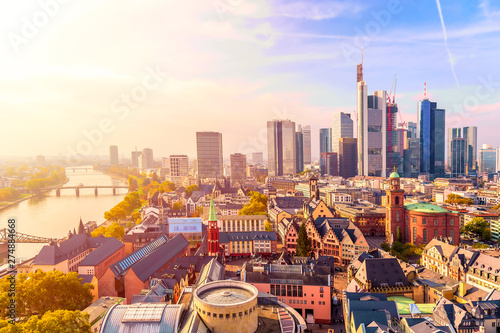 Panoramic view cityscape skyline of business district with skyscrapers during sunrise, Frankfurt am Main. Hessen, Germany - 274884668