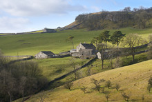 Views Out Over Farmland And Farm Buildings Near Horton In Ribblesdale, Yorkshire Dales.