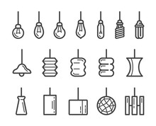 Hanging Lamp Thin Line Icon Set,vector And Illustration