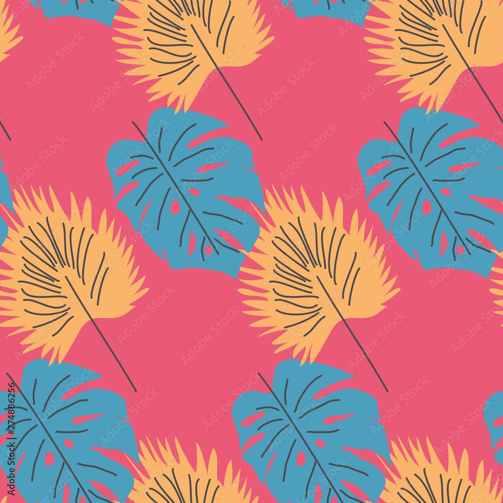 Elegant seamless pattern with flower branch. Scandinavian style