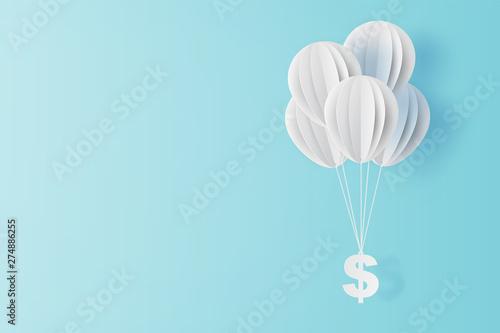 Fotografie, Obraz  illustration of balloon fly with dollar sign on blue sky