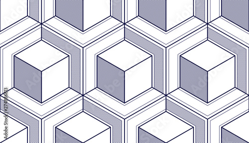 Fototapeten Künstlich Geometric cubes abstract seamless pattern, 3d vector background. Technology style engineering line drawing endless illustration. Single color, black and white.