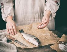 Fresh Whole Sea Bass Fish Lyin...