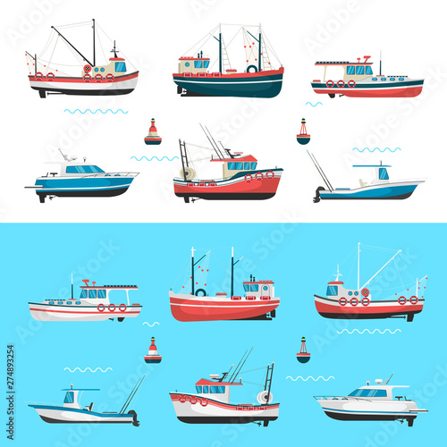 Fishing boats side view and buoys with blue sea background and isolated on white Fototapeta