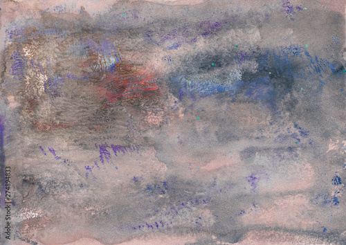 Poster Taupe Abstract background, hand-painted texture, watercolor painting, splashes, drops of paint, paint smears. Design for backgrounds, wallpapers, covers and packaging.
