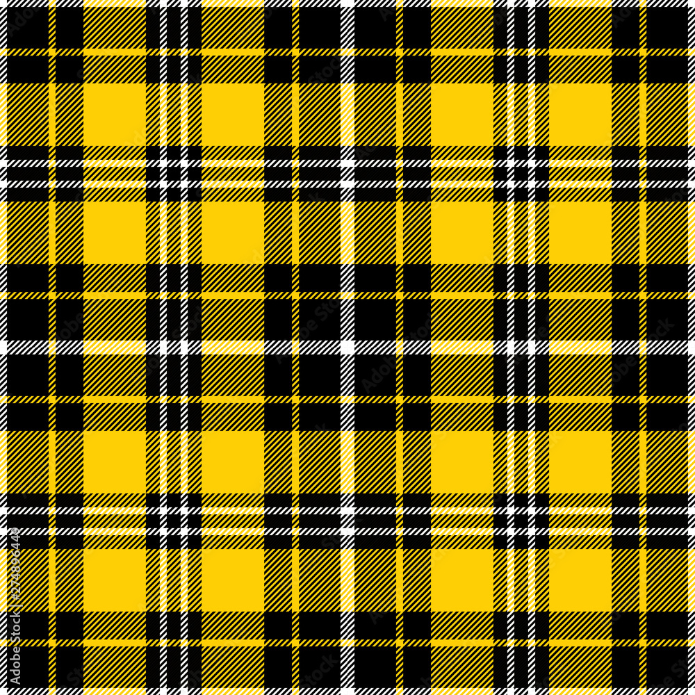 Fototapety, obrazy: Yellow, black and white tartan plaid pattern. Flannel textile pattern / seamless background.