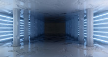3d Rendering. Marble Corridor With Damaged Columns With Light Blue Neon Stripes Along The Walls. Neon Glow.