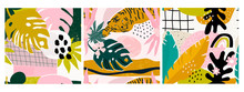 Set Of Three Hand Drawn Seamless Patterns. Tropical Jungle Leaves, Tiger, Various Shapes. Abstract Contemporary Seamless Patterns. Modern Patchwork Illustrations In Vector. Every Pattern Is Isolated