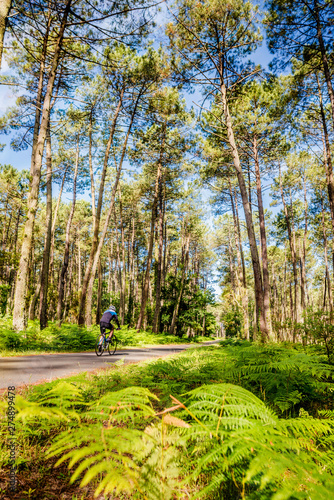 Photo man riding a bike in the forest