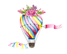 Watercolor Colorful Air Balloon With Bouquet. Colorful Illustration Isolated On White. Hand Painted Airship With Plants Perfect For Children's Wallpaper, Fabric Textile, Vintage Design, Card Making