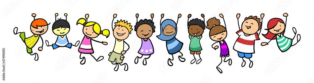 Fototapeta Kinder hängen als Rahmen in einer Linie