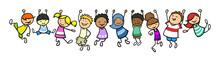 Kinder Hängen Als Rahmen In Einer Linie