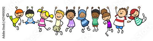 Fényképezés Kinder hängen als Rahmen in einer Linie