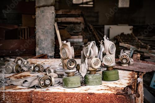 Foto op Plexiglas Artistiek mon. Old Gas mask in settlement, Chernobyl Exclusion Zone, Ukraine