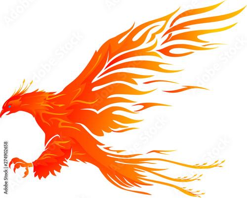 Photo  Phoenix Bird Vibrant Flame