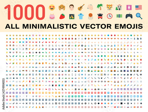 All type of emojis, stickers, emoticons flat vector illustration symbols. Hands, man, woman, workers, fruit drinks food house, animals, activity, sport icons set, collection. Big icons set.