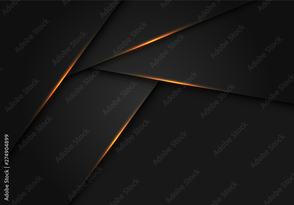 Fototapety, obrazy: Abstract gold light on dark grey metallic polygon design modern futuristic background vector illustration.