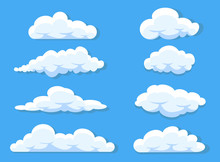 Set Of Clouds Cartoon Style Isolated On White Vector Illustration