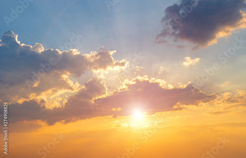 Fototapety, obrazy: Twilight sky background. Colorful Sunset sky and cloud.vivid sky in twilight time background.Fiery orange sunset sky. Beautiful