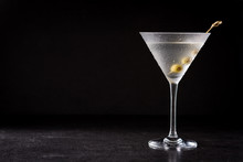 Classic Dry Martini With Olive...