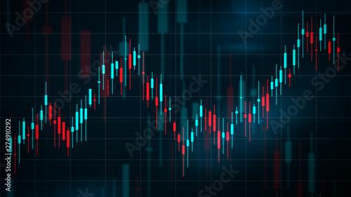 Photo Digital Candlestick Stock Chart 2D View