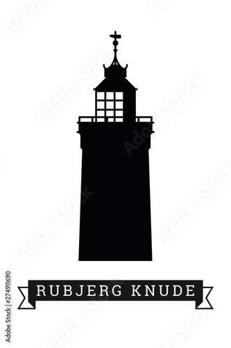 Cuadros en Lienzo Rubjerg Knude lighthouse silhouette vector