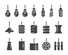Hanging Lamp Icon Set,vector A...