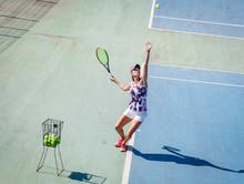 Female Tennis Player Serve.