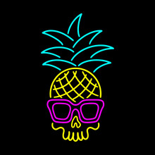 Color Neon Skull Pineapple With Sunglasses Black Background