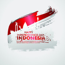 Indonesian Independence Day Celebration Banner Set. 17th Of August Felicitation Greeting Vector Illustration. Modern Backgrounds With Grunge Style Indonesian Flag And Silhouette Icon City Of Indonesia