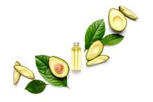 Avocado Oil Concept, Flat Lay Composition