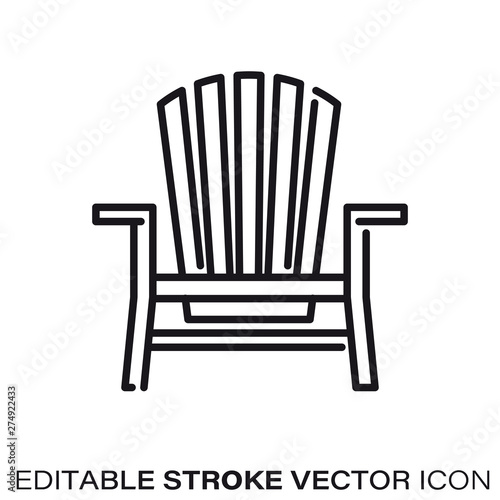 Photographie Adirondack chair vector line icon
