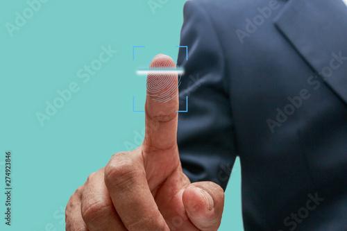 Photo  Men finger print scan for enter  system start work