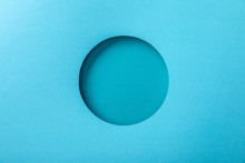Blue Paper Background With Minimalistic Round Hole