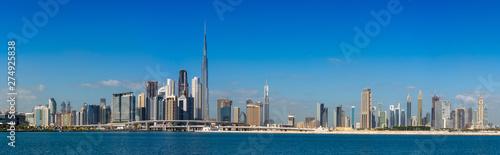 Fotografie, Obraz Super high resolution Wide panorama of Dubai cityscapes with Burj Khalifa at day
