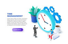Time Management With Clock And Gears. Isometric Vector Illustration. Landing Page Template For Web.