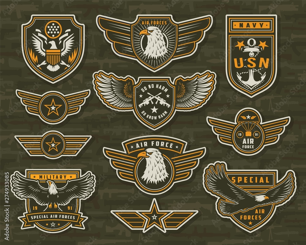 Fototapeta Vintage armed forces insignias and badges