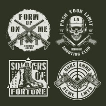 Monochrome Army And Military Emblems