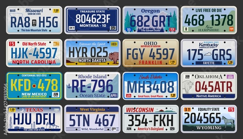 Fotomural  Car number plates of license registration in USA