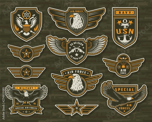 Foto Vintage armed forces insignias and badges