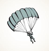 Parachutist. Vector Drawing