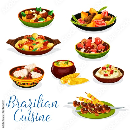 Brazilian cuisine grilled meat, seafood bean stew © Vector Tradition