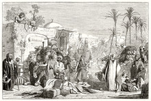 Ancient Arab Caravan Resting And Getting Water From A Fountain. Arabian Outdoor Refuel Context With Typical Palms. By Chacaton And Montigneul  Publ. On Magasin Pittoresque Paris 1848